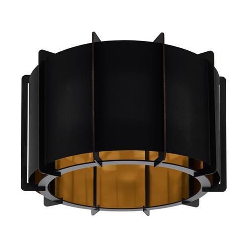 pineta black steel wood black gold semi flush ceiling light 98339