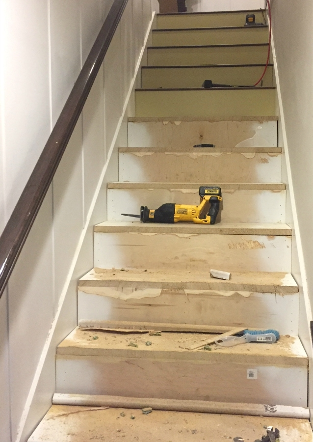 Stairway Makeover Swapping Carpet For Laminate The Lilypad Cottage | Redoing Carpeted Stairs To Wood | Hardwood Floors | Stair Tread | Stair Risers | Stair Case | Staircase Remodel
