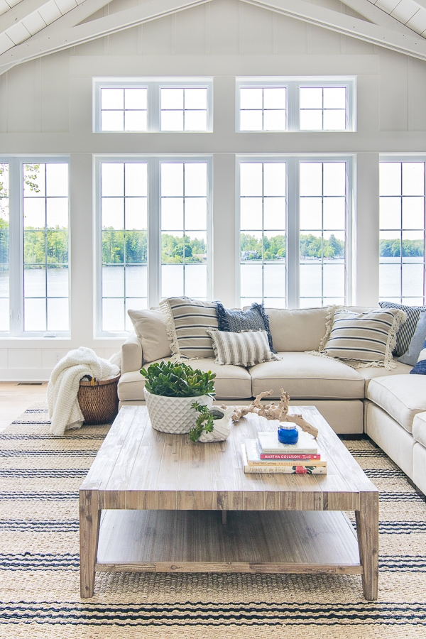 Lake House Blue and White Living Room Decor - The Lilypad ... on Living Room Decor  id=40574