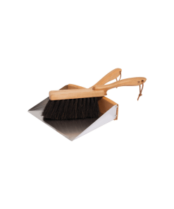 wooden dustpan and brush