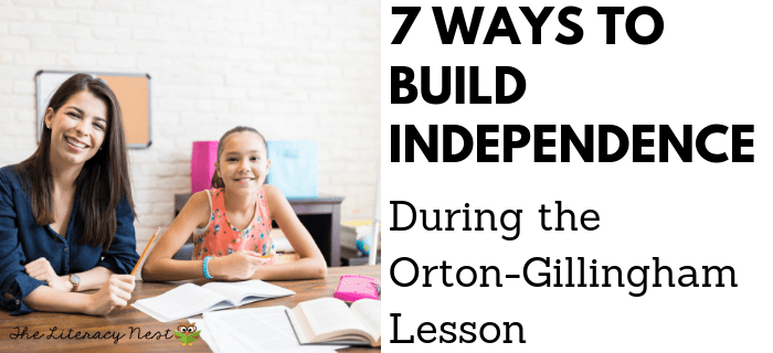 indepdent skills during Orton-Gillingham lesson plans