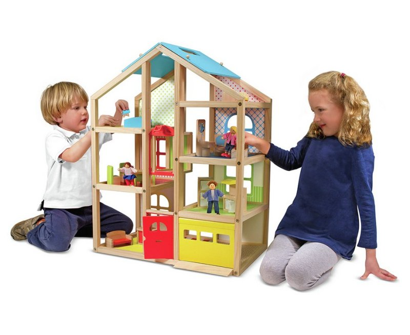 Melissa and Doug Wooden Hi Rise Dollhouse
