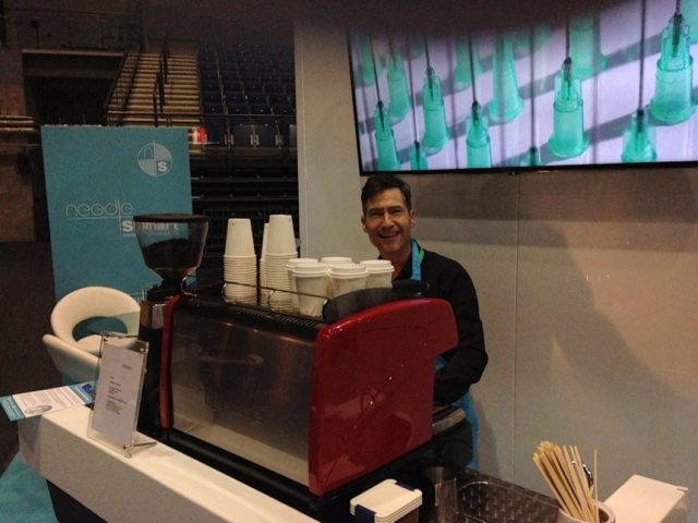 Mobile coffee bar for exhibitions
