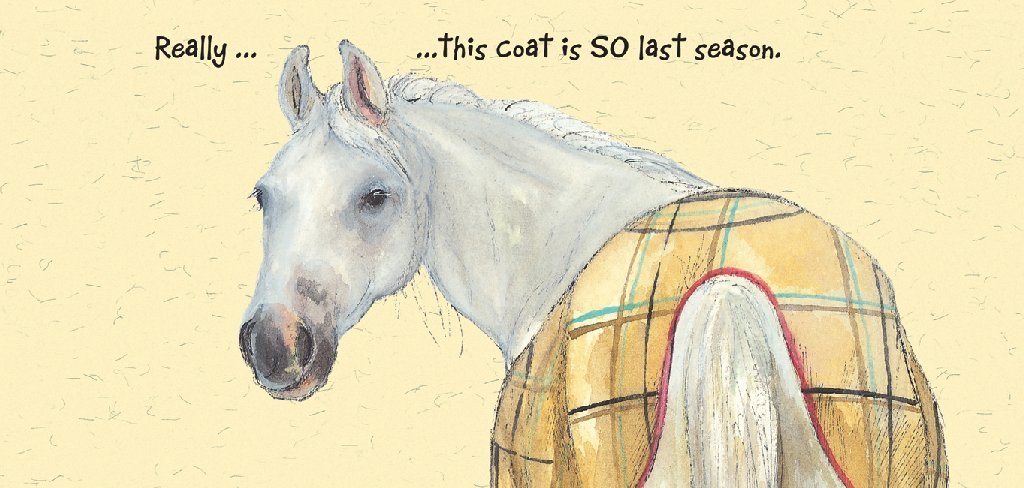White Horse Greeting Card Last Season The Little Dog