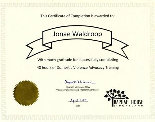 Jonae Waldroops DV Advocacy Training Certificate