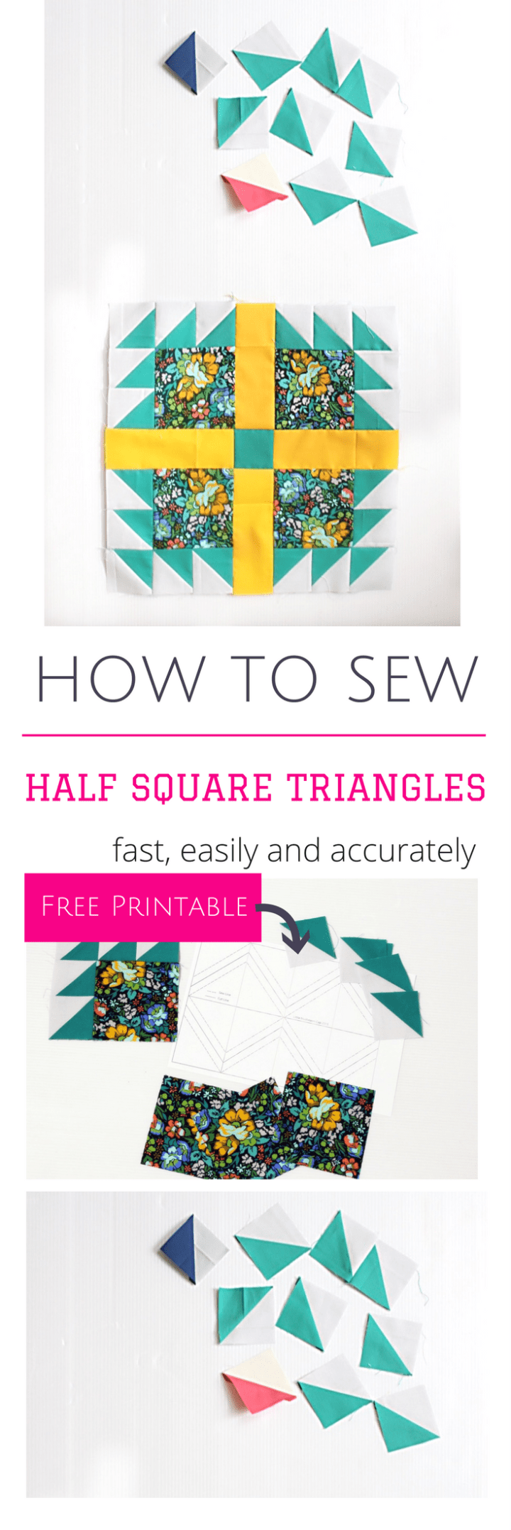 How to sew Half Square triangles fast accurate and easily _ tutorial and free printable
