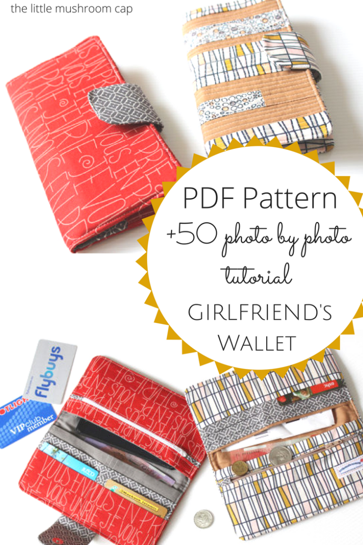 Pinterest PDF GirlFriend Wallet Pattern | Handmade Wallet| How to sew wallet purse | the little mushroom cap pattern