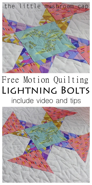 Free Motion Quilting Lightning Bolts Tutorial