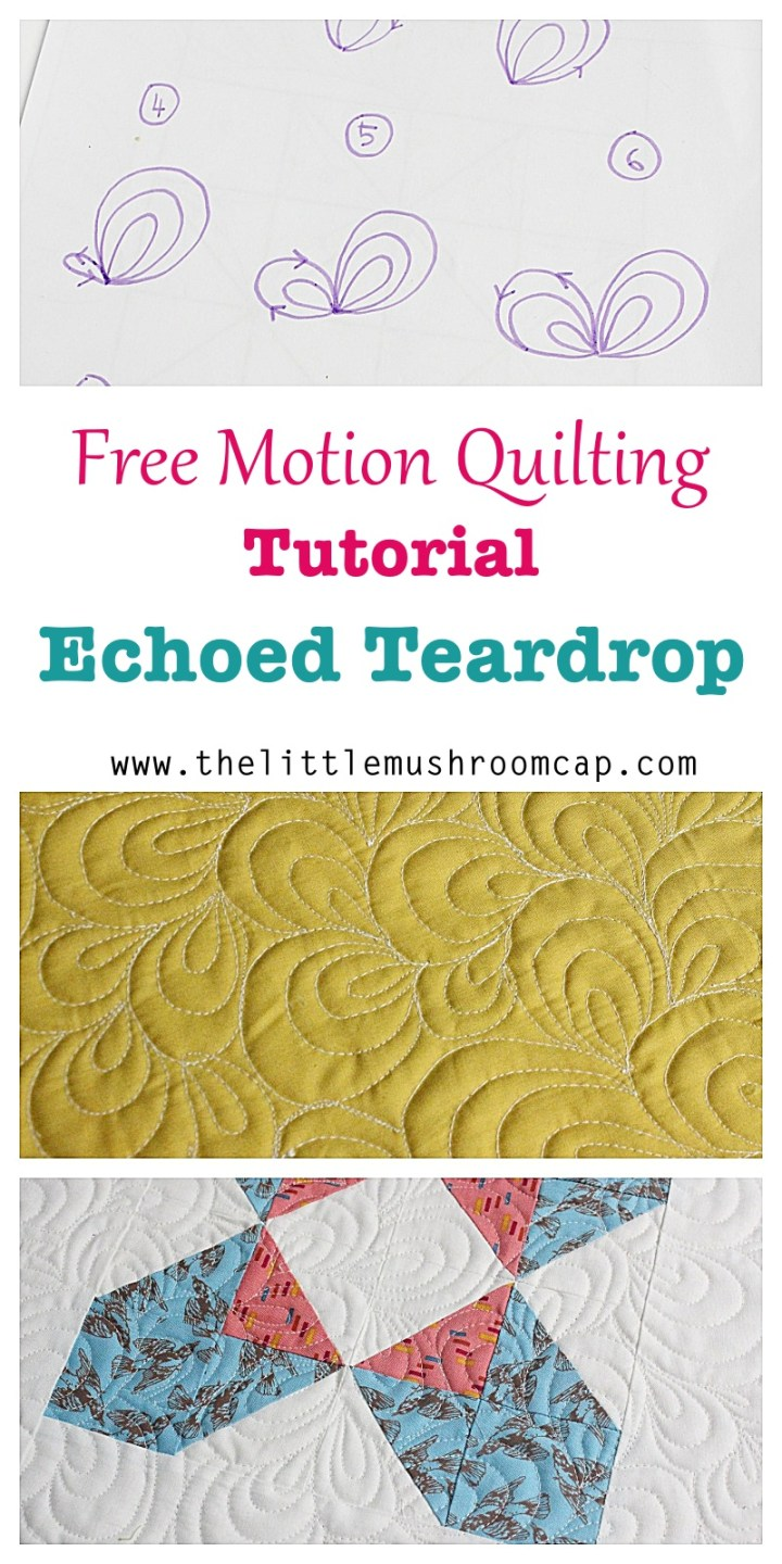 how to free motion quilt echo teardrop allover quilting motif