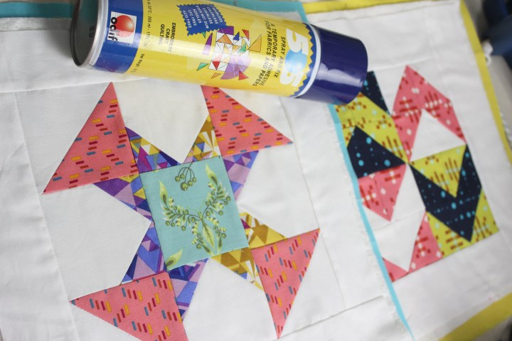 Spray Basting quilt as you go Block by Block