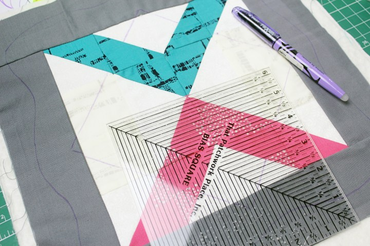 marking for custom quilting, quilting as go you blocks