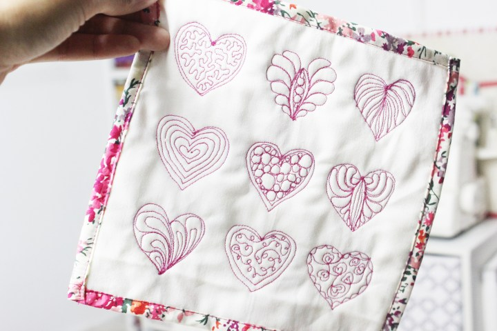FMQ hearts Mini Quilt - 9 ways to free motion quilt hearts