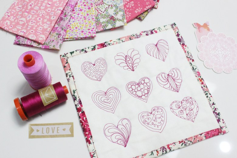 A Friday Finish: Free Motion Quilt Hearts Mini