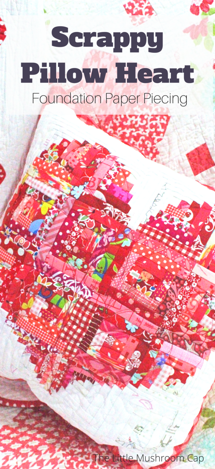Scrappy Pillow Heart _ Quilted Pillow, quilt, scrappy quilting