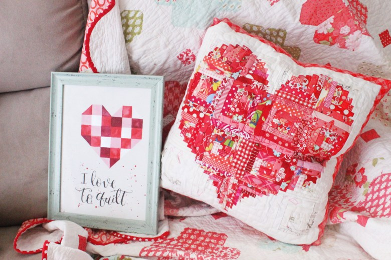 Scrappy Heart Pillow