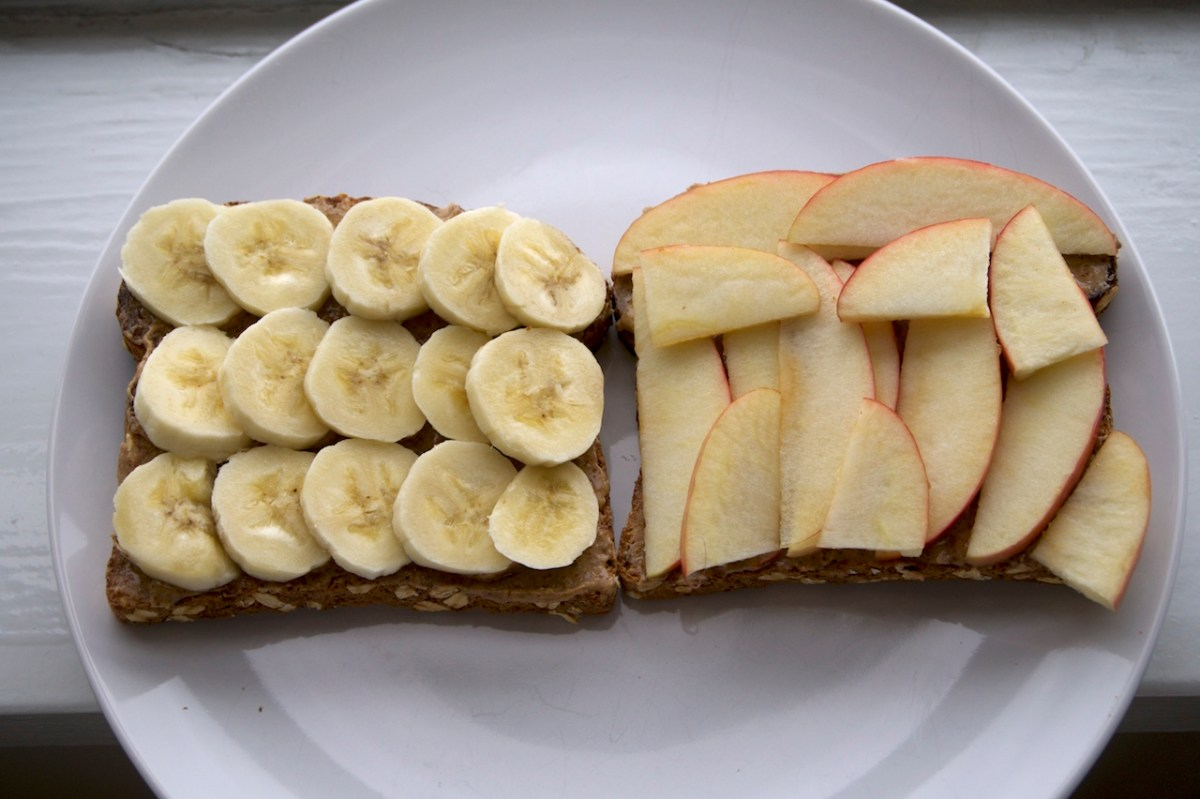 Toast with Almond Butter, Banana and Apple | thelittleredspoon.com