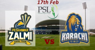 Karachi Kings VS Peshawar Zalmi Live T20 17th Feb 2016 Predictions