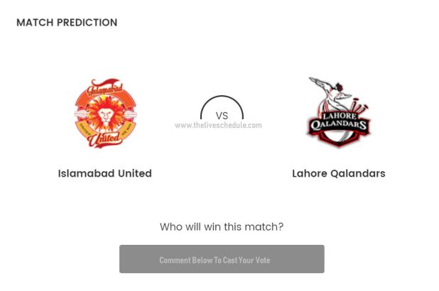 Lahore Qalandars VS Islamabad United Live T20
