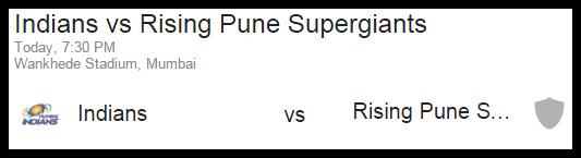 Mumbai Indians MI Vs RPS Pune Live Score IPL 2016
