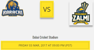 Peshawar Zalmi Vs Karachi Kings Live Score 3rd Playoff March 2017