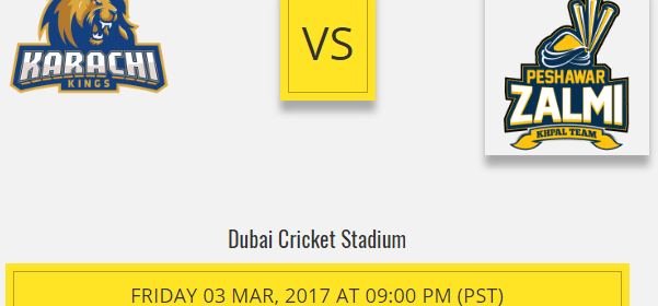 Peshawar Zalmi Vs Karachi Kings Live Score 3rd Playoff March 2017