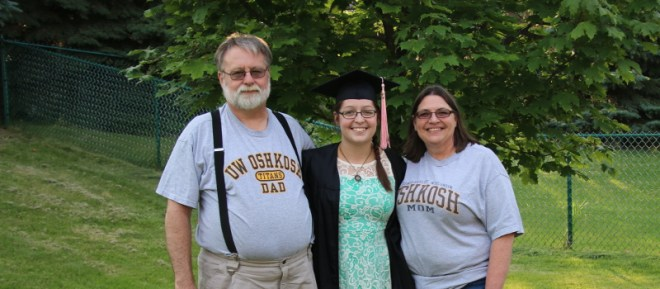 Wendy and her parents after college graduation