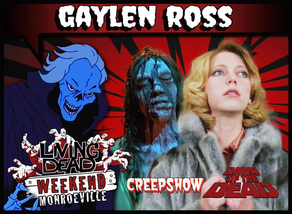 Gaylen Ross Star Francine in George Romero's classic Zombie horror movie Dawn of the Dead AKA Zombies survival in a Monroeville Shopping Mall joins Living Dead Weekend guest line up june 2019