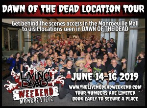 Go Behind the scenes of George A Romero's Zombies Dawn of the Dead at he Living Dead Weekend Horror Con in Pittsburgh Monroeville Mall