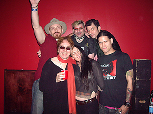 Celebrating a great show of the Legendary Pink Dots in Atlanta, June 2006. Antic Clay, Edward Ka-Spel, Jarboe, Minister, Damon Young, Derek Bonner. Photo by Jill Williams
