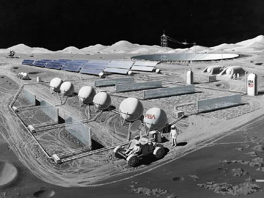 Impressão artística da NASA de uma base lunar com uma antena de um rádio telescópio (ao fundo)