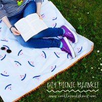 DIY POTATO STAMPED WATERMELON PICNIC BLANKET