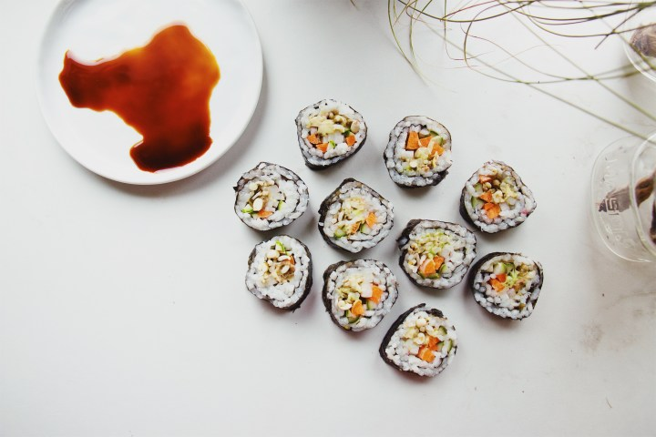 Homemade Sushi with Soy Sauce