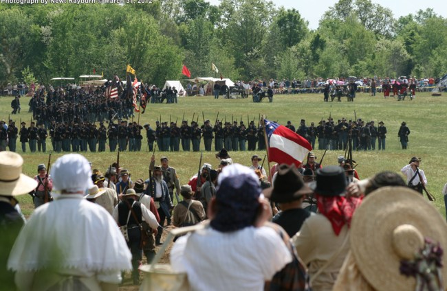 Southern Belles look on as Union forces advance. Photograph by Newt Rayburn © March 31, 2012