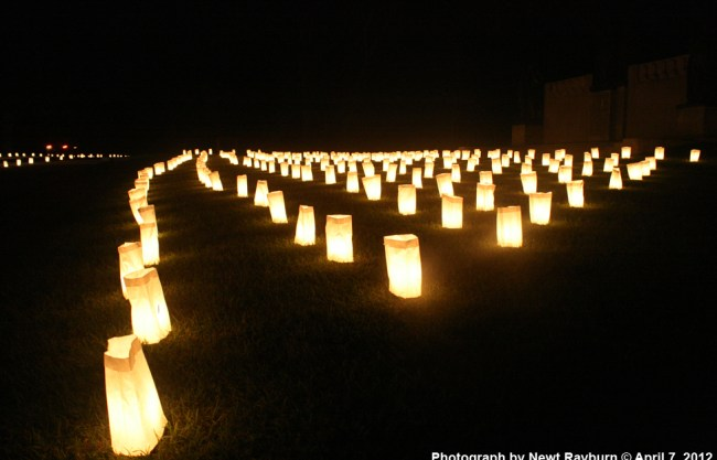 Luminarias at the Confederate Memorial at Shiloh. Photograph by Newt Rayburn © April 7, 2012