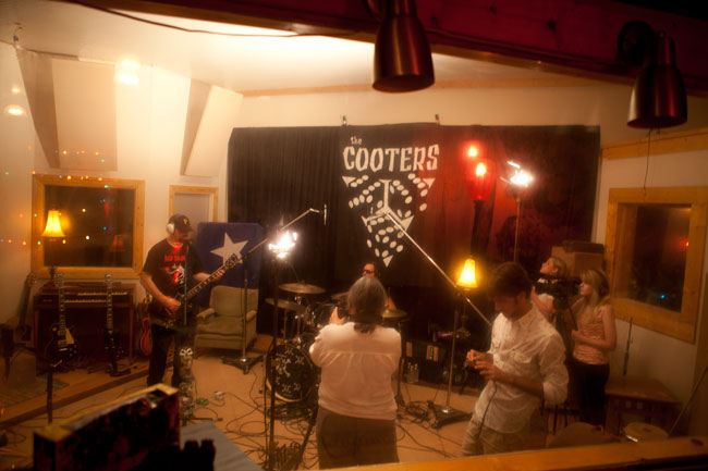 """Oxford Sounds"" Producer Marie Antoon and crew film a scene with The Cooters at Black Wings Studio near Water Valley, Mississippi. Photograph by Blair McElroy."