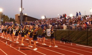 Oxford Chargers Cheerleaders and local fans at the game. Photograph by Carver Rayburn.