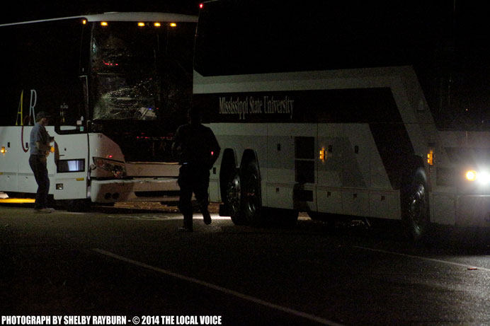 Mississippi's State's Football team buses were involved in a second accident near the intersection of Highway 30 and North Lamar in Oxford, Mississippi after running into each other the first time on Highway 7 earlier in the night. Photograph by Shelby Rayburn - © 2014 The Local Voice.