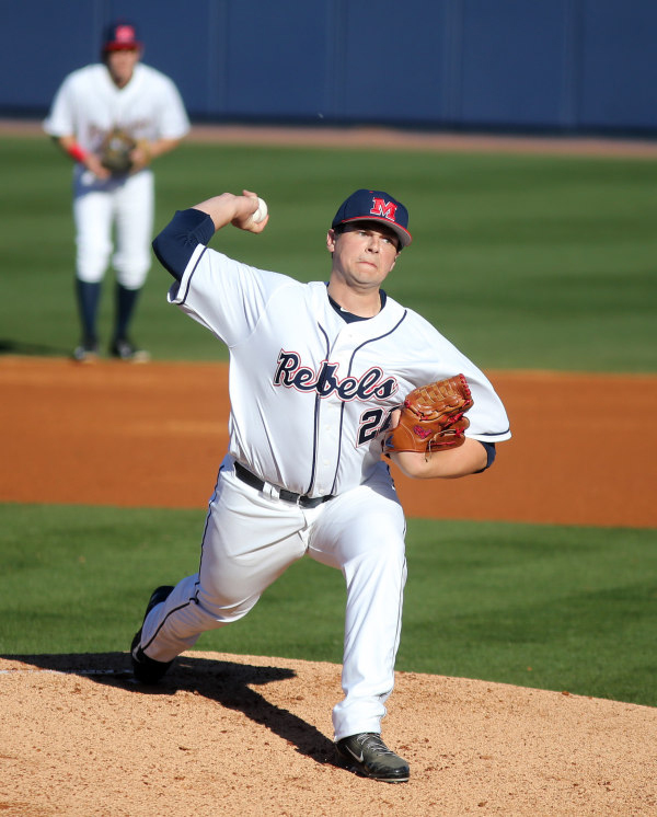 Right Hander Brady Bramlett got the win for the Rebels in game 2 vs. William & Mary at Swayze Field on February 14th, 2015. Photograph by Joshua McCoy/Ole Miss Athletics.