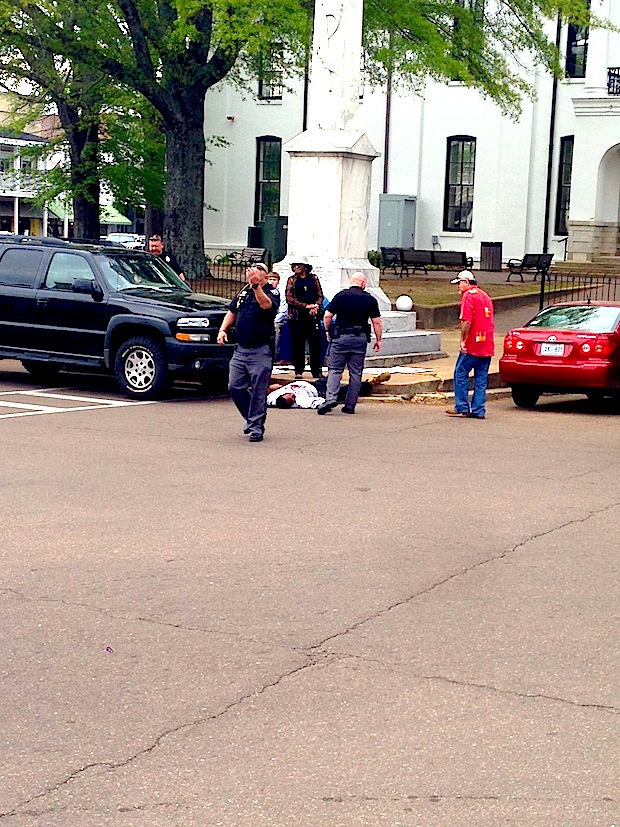 A photograph from April 18, 2014, when Anthony Hervey was attacked on the Oxford, Mississippi Square. Hervey punched his attacker and knocked him out cold.