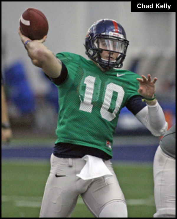 Ole Miss quarterback Chad Kelly completes a short pass during Saturday's scrimage.