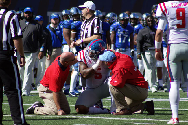 Robert Nkemdiche, Trae Elston, and Will Gleeson are all undergoing concussion protocol after Saturday's game. Photograph by Shelby Rayburn - © 2015 The Local Voice.