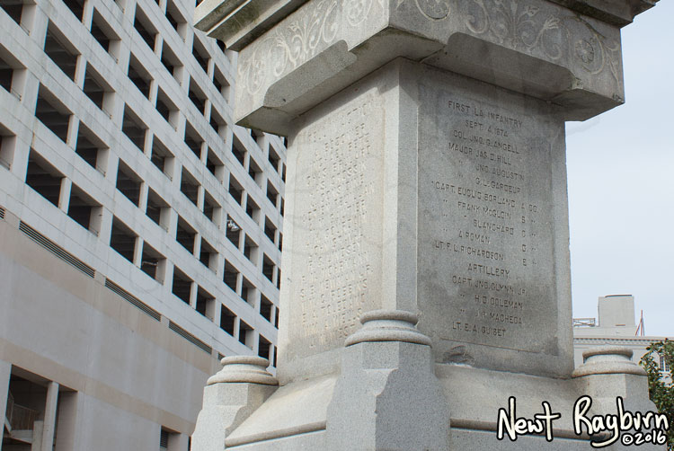 "The Battle of Liberty Place monument in New Orleans, Louisiana, January 2, 2016. Photograph © 2016 Newt Rayburn - newtrayburn@gmail.com. Inscription on the right side reads ""FIRST LA INFANTRY SEPT 4, 1874 (thirteen names of individuals)"""