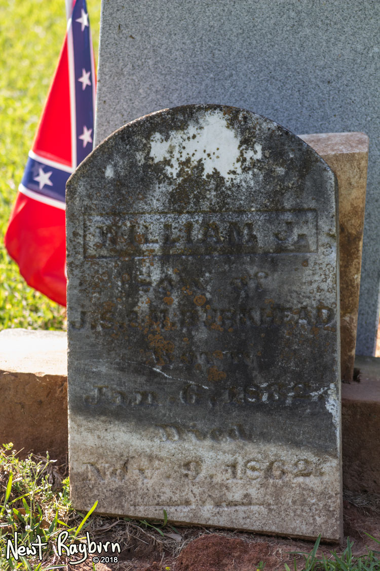 "The original tombstone at the grave of William J. Burkhead, a Confederate soldier and member of the Company A of the 11th Mississippi Infantry, the ""University Greys"". Photograph by Newt Rayburn - © May 6, 2018."