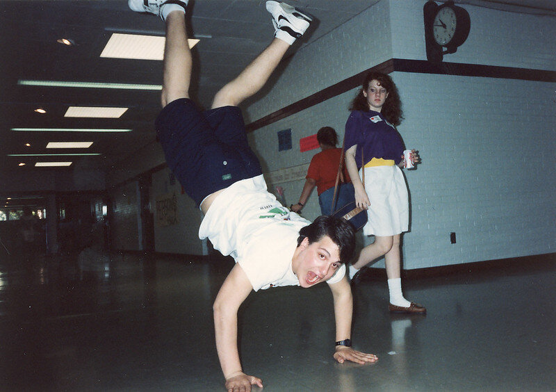 Break dancing was a way that boys could show off in the 1980's. Amanda Goren from flickr.