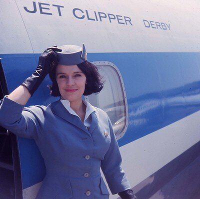 These photos from Cheelah via Flickr taken in 1962 (above) and 1965 (below) made it look like her time as a Pan Am flight attendant was wonderful, despite all the restrictions.