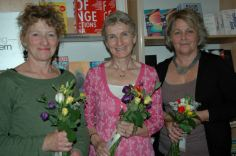 'Indian Summer' poetry competition winners (judged by Steven O'Brien, editor of The London Magazine): Ellen Phethean (3rd place), Fiona Ritchie Walker (1st place) and Avril Joy (2nd place).