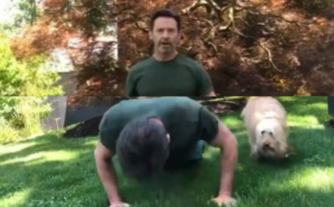 Hugh Jackman Does The 25 Push Up Challenge