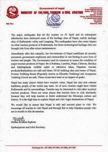 Letter from Nepalese Tourism Board