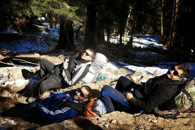 Resting during the kedarkantha trek for all age.