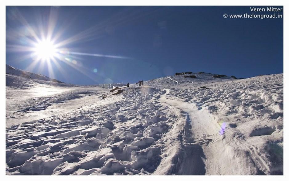 Winter slope of Kedarkantha peak.Trek Day 3